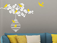 Wandtattoo Blütenzweig mit Vogelkäfig | Bild 3