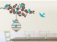 Wandtattoo Blütenzweig mit Vogelkäfig | Bild 4