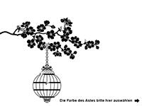Wandtattoo Kirschblütenast mit Käfig und Vögeln Motivansicht