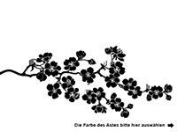 Wandtattoo Blühender Zweig mit Vögeln Motivansicht