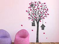 Zweifarbiger Wandtattoo Baum mit Vogelhäusern in grau und pink