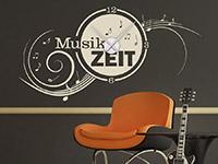 Musik Wandtattoo Uhr Musikzeit auf dunkler Wandfläche