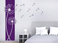 Wandtattoo Banner Pusteblumen im Schlafzimmer