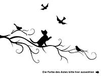 Wandtattoo Ast mit Katze