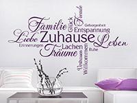 Schriften Wandtattoo Zuhause Begriffe in Farbe auf heller Wand