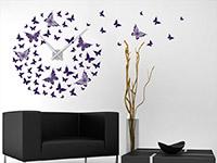 Wanduhr Wandtattoo Uhr Schmetterlinge auf heller Wand