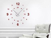 Wanduhr Wandtattoo Uhr 24 Stunden in rot