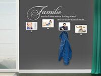 Garderobe Familie mit Fotorahmen in weiß