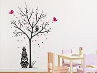 Wandtattoo Baum mit Eulen und Herzen