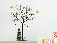 Wandtattoo Baum mit Eulen und Herzen im Kinderzimmer