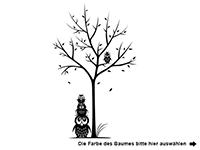 Wandtattoo Baum mit Eulen und Herzen Motivansicht