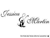 Wandtattoo Wunschnamen mit Katzen und Herzen Motivansicht