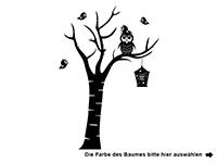 Wandtattoo Baum mit Eule und Vogelfamilie Motivansicht