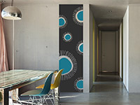 Retro Wandtattoo Banner Grafische Ornamente in grau und türkis