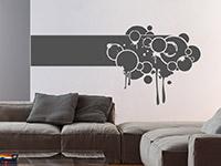 Wandtattoo Banner Splashes im Wohnzimmer in grau