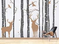 Wandtattoo Wald mit Hirschen