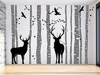 Wandtattoo Wald mit Hirschen im Wohnzimmer