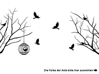 Wandtattoo Seitliche Äste mit Vögeln