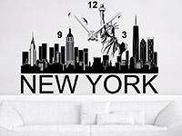 Wandtattoo Uhr New York Skyline