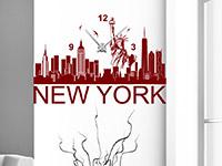 Wanduhr Wandtattoo Uhr New York Skyline in rot