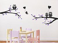 Wandtattoo Lustige Eulen auf Ästen im Kinderzimmer