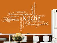 Küchen Wandtattoo Wortwolke in weiß