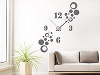 Wandtattoo Uhr Stylische Kreise im Wohnzimmer