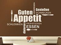 Essen Wandtattoo Guten Appetit Wortwolke auf heller Wand
