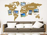 Wandtattoo Fotorahmen Weltkarte im Wohnzimmer
