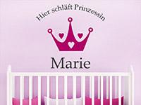 Wandtattoo Hier schläft Prinzessin... im Kinderzimmer