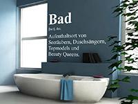 Wandtattoo Begriff Bad über der Badewanne