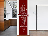 Banner Wandtattoo Zuhause in rot