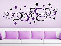 Zweifarbiges Wandtattoo Ornament Ovale und Kreise auf farbiger Wand