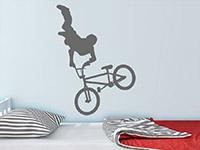 Wandtattoo BMX Fahrer im Jugendzimmer in grau