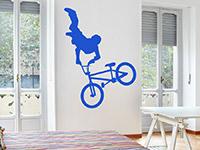 Jugend Wandtattoo BMX Fahrer in königsblau