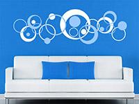 Wandtattoo Zweifarbige Retro Kreise auf farbiger Wand