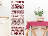 Spruchbanner Wandtattoo Küchenordnung in rot