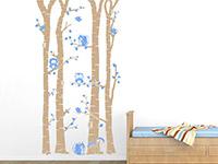 Wandtattoo Birkenwald mit Waldbewohnern im Kinderzimmer