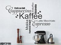 Wandtattoo Kaffee Wortwolke Schriften