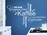 Wandtattoo Kaffee Wortwolke Schriften in der Küche