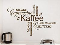 Küchen Wandtattoo Kaffee Wortwolke Schriften