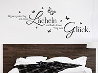 Motivierendes Wandtattoo Beginne jeden Tag... über dem Bett