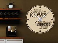 Wandtattoo Uhr Kaffeesorten in der Küche
