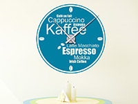 Kaffee Wandtattoo Uhr Kaffeesorten in Farbe