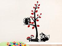 Wandtattoo Zweifarbiger Baum mit Fuchs und Eichhörnchen | Bild 4