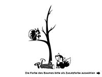 Wandtattoo Zweifarbiger Baum mit Waldtieren Motivansicht