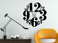 Uhr Wandtattoo mit Zahlen in schwarz
