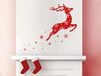 Wandtattoo Springendes Rentier mit Schneeflocken | Bild 3