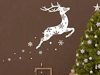 Wandtattoo Springendes Rentier mit Schneeflocken | Bild 4