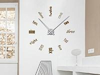 Wanduhr Wandtattoo Uhr Englische Zahlen in Farbe